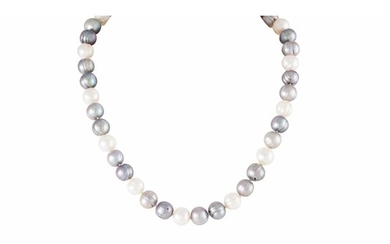 A CULTURED RIVER PEARL NECKLACE, grey and cream tones, gold ...