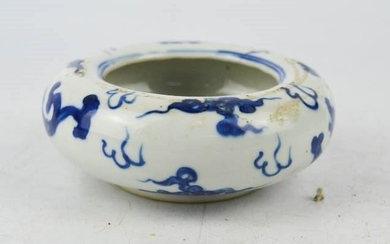 A Chinese 19th century bowl / brush pot, blue and white, dec...