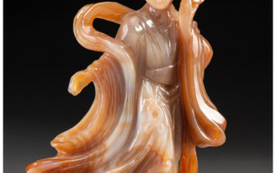 A Chinese Carved Agate Figure of a Lady (20th century)