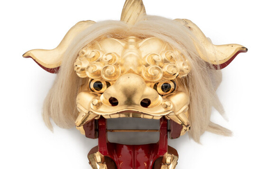A Chinese Gilt Lacquered Dragon Head Ornament with Horse Hair Decoration