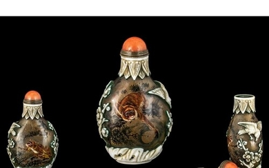 A Chinese Inside Painted Snuff Bottle depicting monkeys, bir...