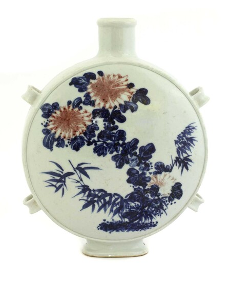 A Chinese blue and white moon flask