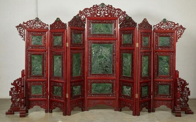 A Chinese hardstone seven panel floor screen