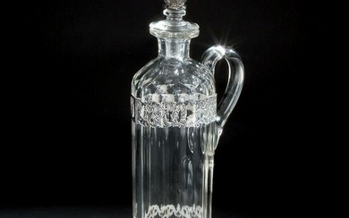 A Dutch silver mounted cutted crystal one handled