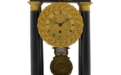 A French Empire Style Ebonized Wood and Gilt Portico Clock