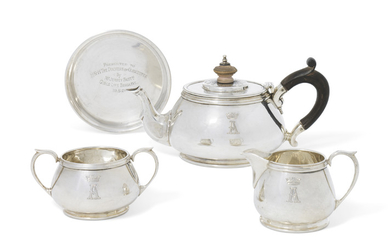 A GEORGE V SILVER THREE-PIECE BACHELOR'S TEA SERVICE, MARK OF HENRY HODSON PLANTE, LONDON, 1934