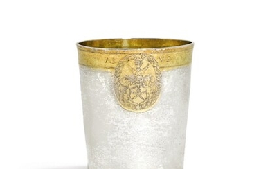 A GERMAN PARCEL-GILT SILVER BEAKER, UNMARKED, CIRCA 1629