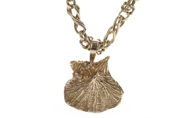A GOLD CHAIN WITH SEASHELL PENDANT
