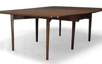 A George III mahogany dining table, the rounded rectangular top...
