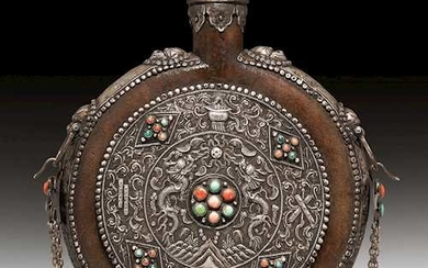 A LEATHER COATED MOONFLASK.
