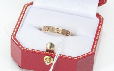 A LOVE RING BY CARTIER IN 18CT ROSE GOLD, SIZE L-M, 3GMS