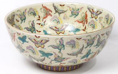A Large Chinese Enamelled butterfly Bowl