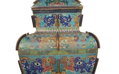 A Large Imperial Cloisonne Enamel Vase and Cover, Fanglei 18th Century.