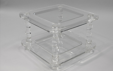 A MODERN LUCITE AND GLASS TABLE