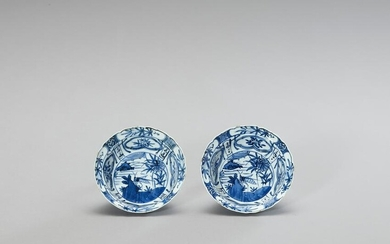 A PAIR OF BLUE AND WHITE 'KRAAK' STYLE PORCELAIN BOWLS
