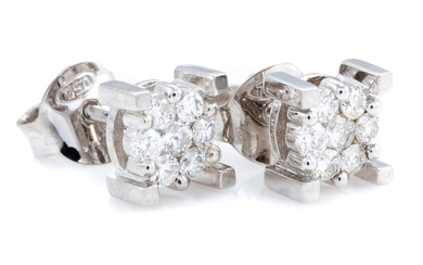 A PAIR OF DIAMOND CLUSTER STUD EARRINGS; each set in 18ct white gold with 7 round brilliant cut diamonds, 14 diamonds total approx....