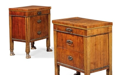A PAIR OF NORTH ITALIAN WALNUT AND PARCEL-GILT COMODINI, LATE 18TH/EARLY 19TH CENTURY