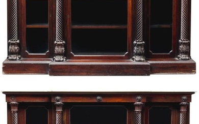 A PAIR OF IRISH GEORGE IV ROSEWOOD SIDE CABINETS, CIRCA 1825, ATTRIBUTED TO MACK, WILLIAMS & GIBTON