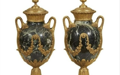 A Pair Of Louis Xvi Style Ormolu Mounted Serpentine