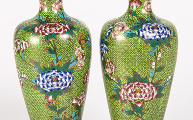 A Pair of Chinese Cloisonné Vases