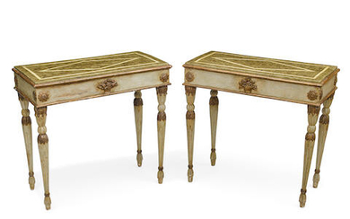 A Pair of Italian Neoclassical painted consoles