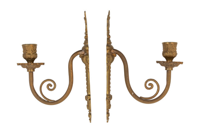 A Pair of Neoclassical Gilt Metal Single-Light Sconces