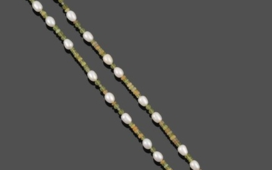 A Peridot, Opal and Cultured Pearl Necklace, faceted opal and...