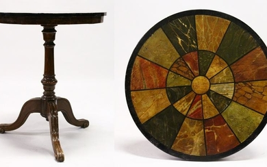 A REGENCY STYLE CIRCULAR TRIPOD TABLE, the slate top