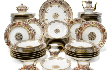 A SEVRES-STYLE HUNTING (LE SERVICE DE CHASSE DE FONTAINEBLEAU) TYPE PART DINNER-SERVICE, LATE 19TH CENTURY