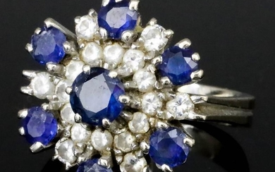 A Sapphire and Diamond Cluster Ring, Modern, in 18ct...