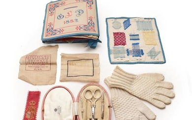 A School Girl's Sewing Sample Book, initialled 'GLD' and dated...