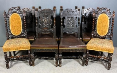 A Set of Six Oak High Back Dining Chairs,...