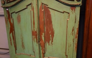 A TWO DOOR DUTCH/INDONESIAN SOLID WOOD GREEN PAINTED RUSTIC ARMOIRE (199H X 110W X 55D CM) (PLEASE NOTE THIS ITEM MUST BE REMOVED BY...