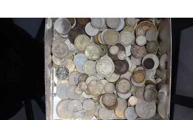 A box of mixed coinage to include 4 ounces plus of silver