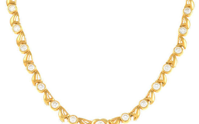 A brilliant-cut diamond necklace, with heart and stylised floral motif.