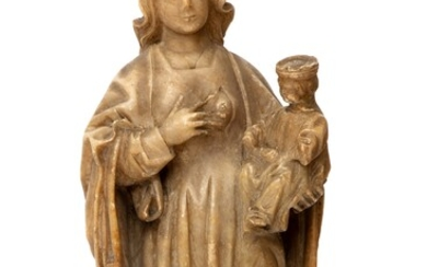 A carved alabaster figure of the Virgin and Child