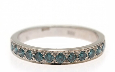 NOT SOLD. A diamond ring set with numerous brilliant-cut blue diamonds weighing a total of...