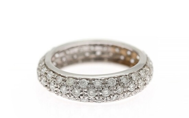 A diamond ring set with numerous diamonds weighing a total of app. 1.78 ct., mounted in 18k white gold. Size app. 54.5.