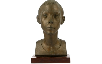 A first half 20th Century bronze bust of a young boy,