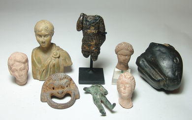 A group of 8 ancient-style replica objects