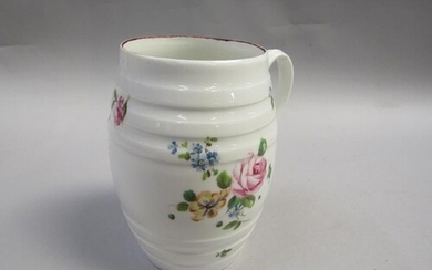 A late 18/early 19c Derby barrel shaped cider tankard painte...