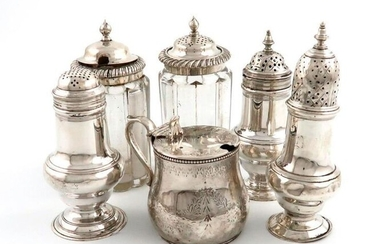 A mixed lot of silver cruets, various dates and makers, comprising: a Victorian mustard pot, by George Fox, London 1864, baluster form, engraved decoration, scroll handle, with a blue glass liner, a George III baluster pepper pot, London 1763, a George...