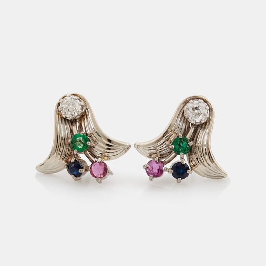 A pair of 18K white gold earrings set with old-cut diamonds and faceted rubies, emeralds and sapphires