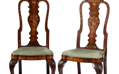 A pair of Dutch style marquetry chairs