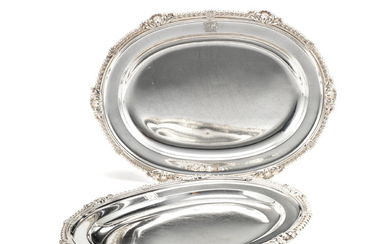 A pair of Victorian silver meat dishes