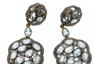 A pair of aquamarine and diamond ear pendants each set with numerous oval-cut aquamarines and rose-cut diamonds, mounted in sterling silver. L. 6.6 cm. (2)