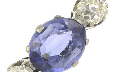 A sapphire and old-cut diamond three stone ring.