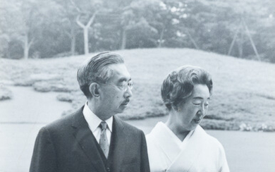 A signed black and white photograph of the Japanese emperor Hirohito and empress Nagako, 1970's