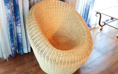 A wicker armchair