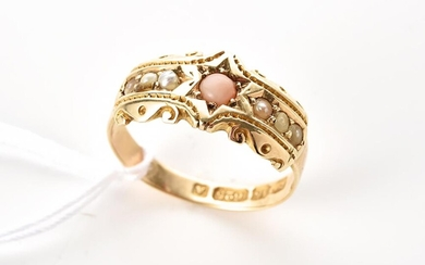 AN ANTIQUE CORAL AND SEED PEARL RING IN 15CT GOLD, HALLMARKED CHESTER 1884, RING SIZE J, 2.6GMS